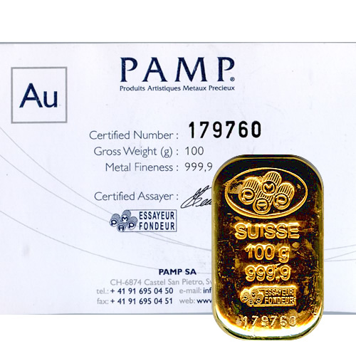 Pamp Suisse 100 Gram Gold Bar Poured Golden Eagle Coins