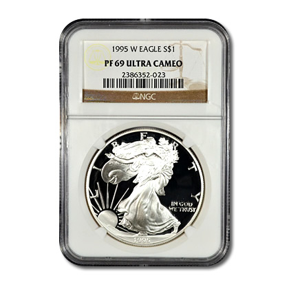 Certified Proof Silver Eagle Pf69 1995 W Ngc Golden