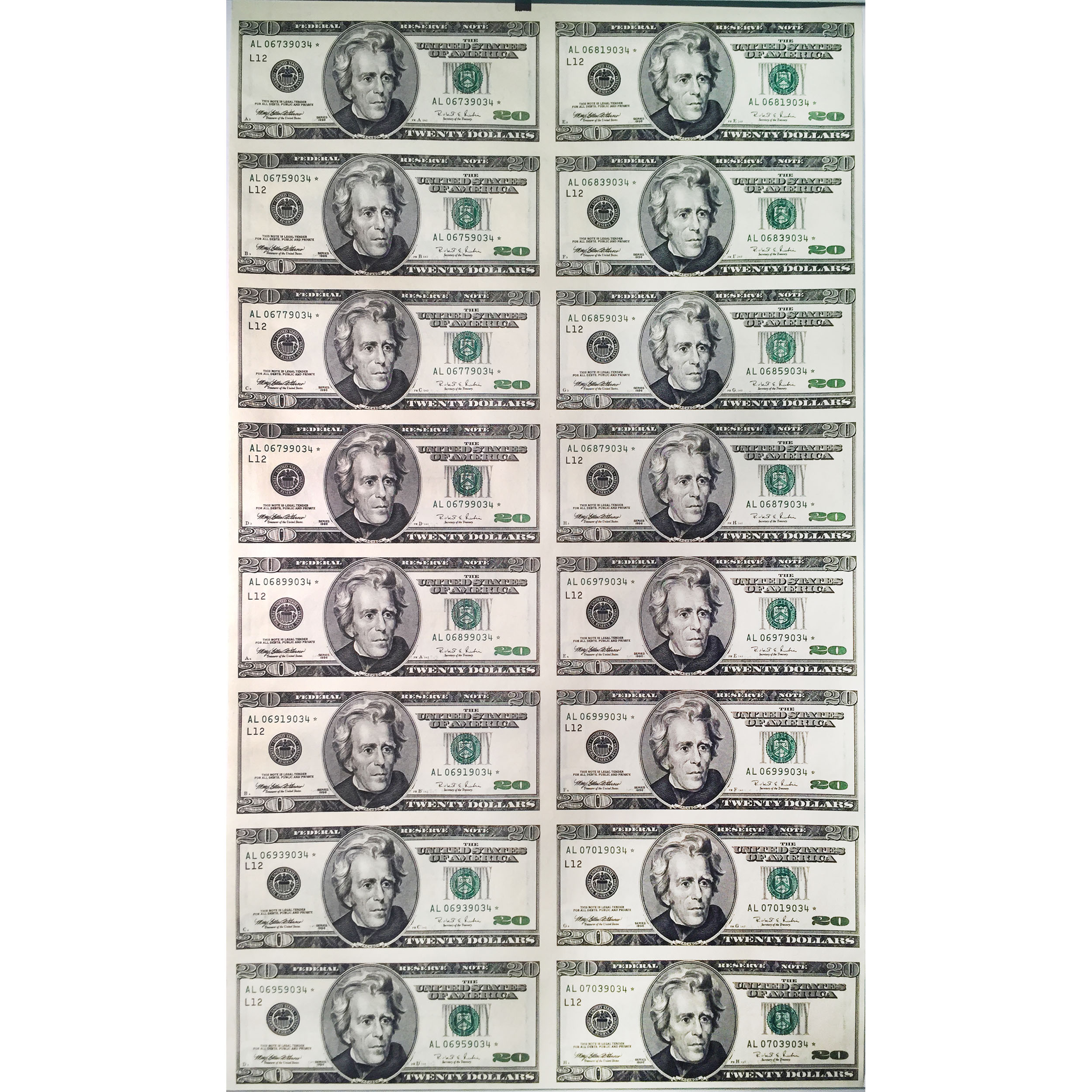 Uncut Currency Sheet 16 X 20 1996 Star Unc Golden Eagle