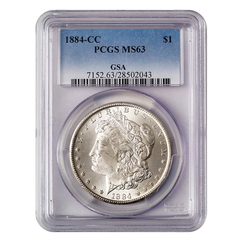 Certified Morgan Silver Dollar 1884 Cc Ms63 Pcgs Golden