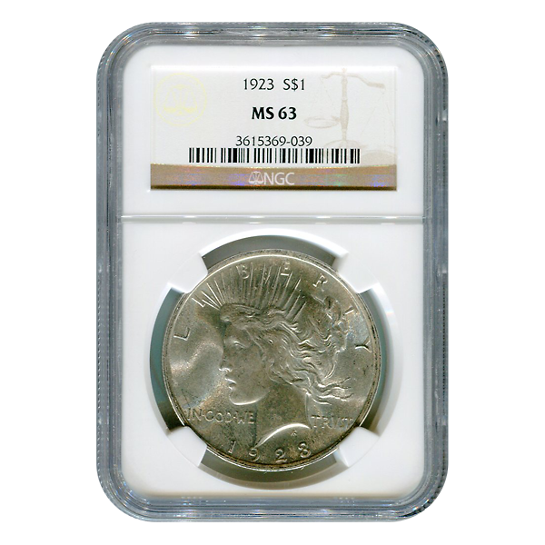 Certified Peace Silver Dollar 1923 MS64 NGC