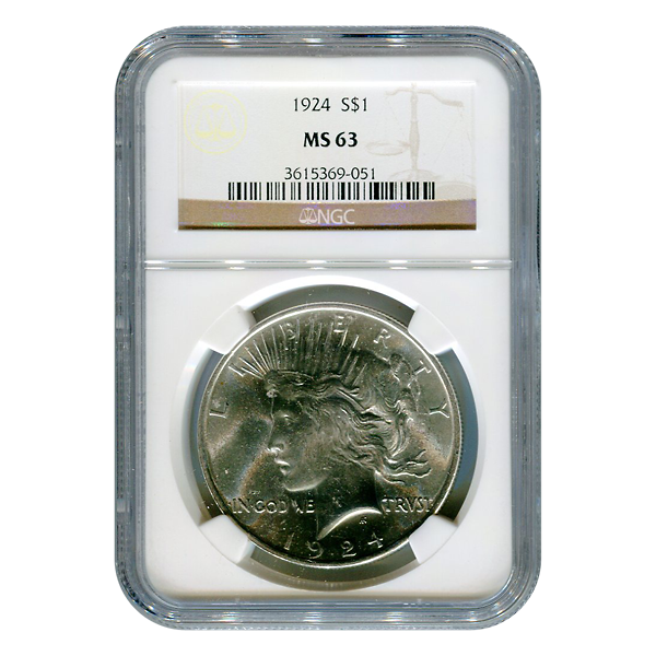 Certified Peace Silver Dollar 1924 MS63 NGC