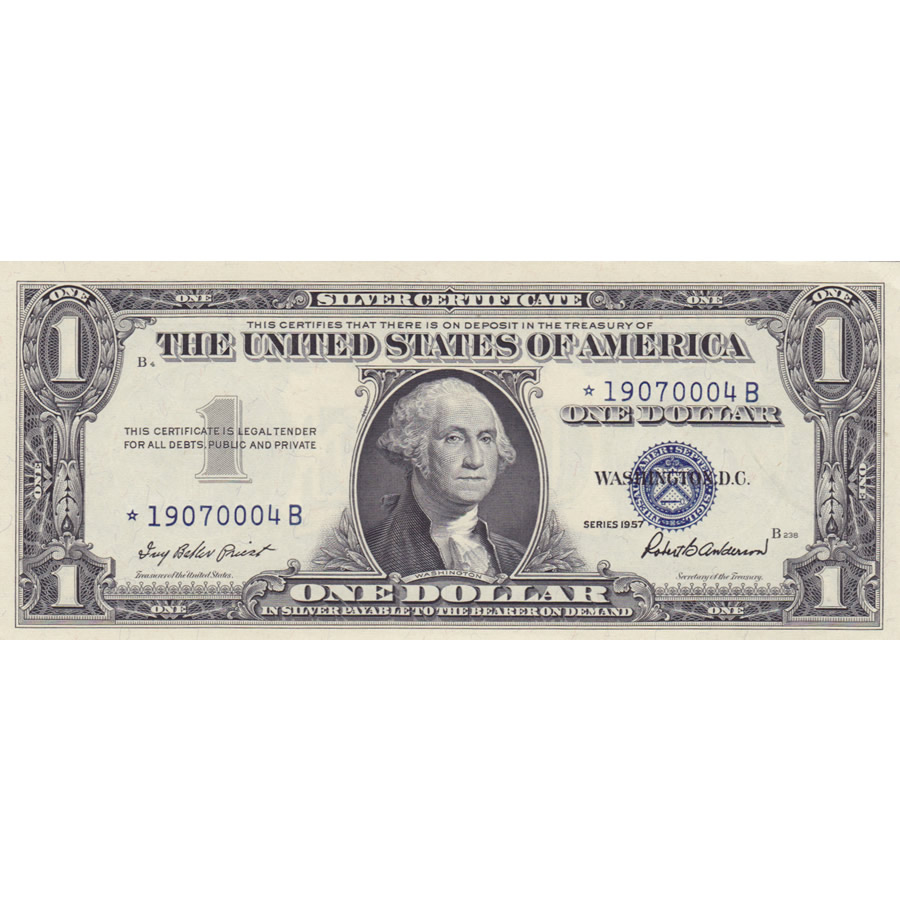 1957 1 Star Silver Certificate Unc Golden Eagle Coins
