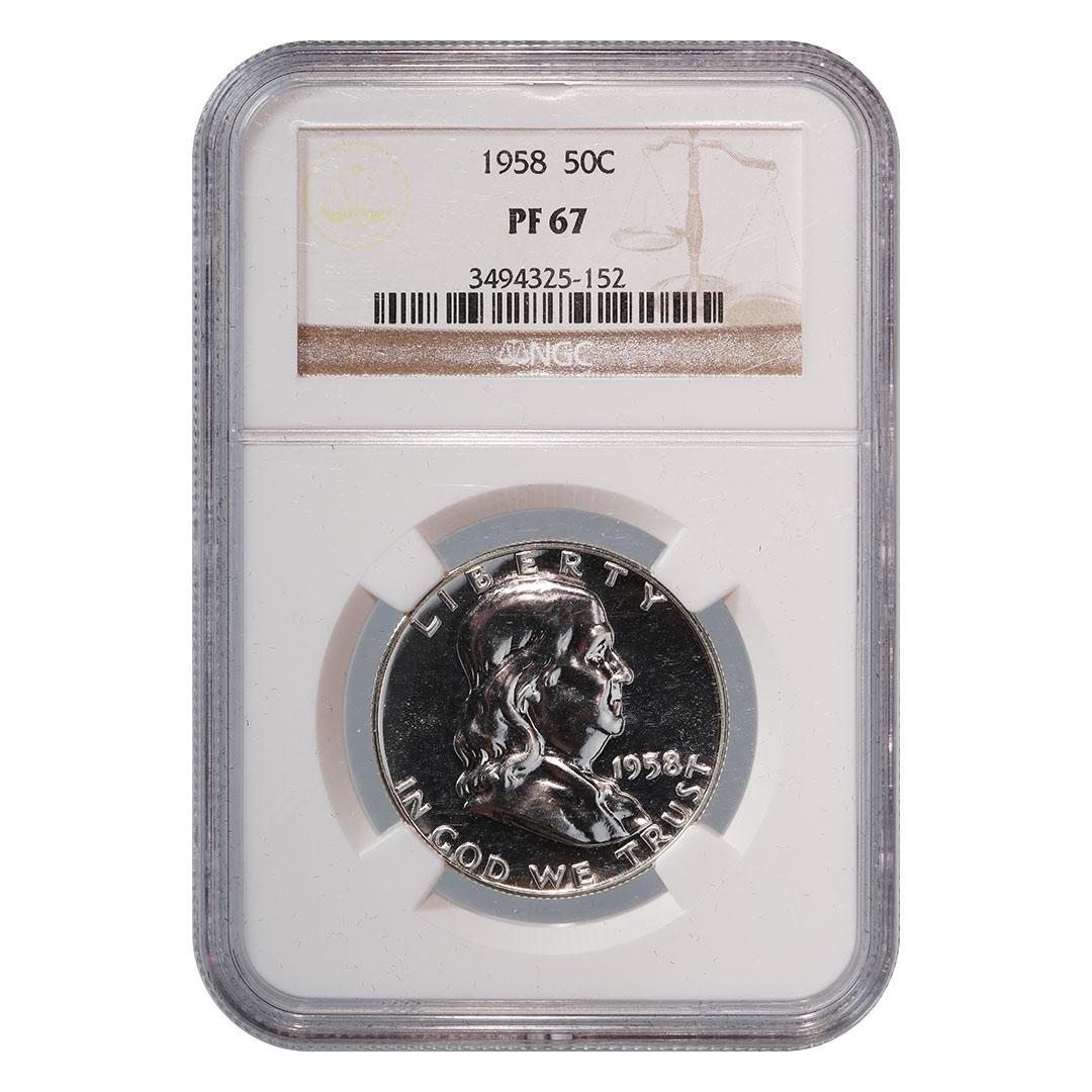 1958 Franklin Silver Half Dollar 50c ~ NGC PF67 ~ STUNNING PROOF!