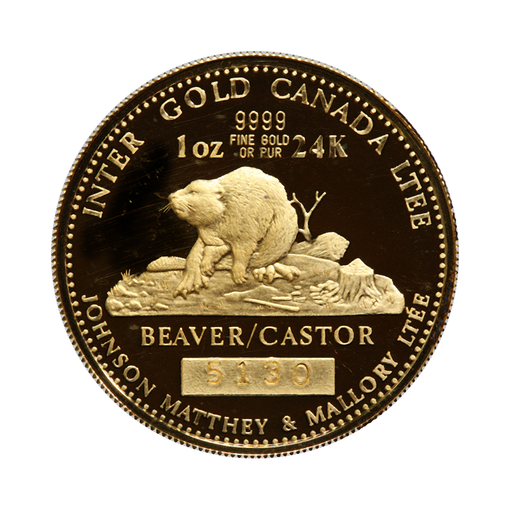 Canada 1 Oz Gold Pf 1978 Johnson Matthey Beaver Louis