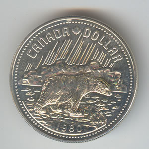 Canada 1980 Silver Dollar Arctic Territories Golden