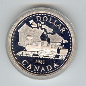 Canada 1981 Silver Dollar Railroad Golden Eagle Coins