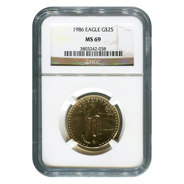 Certified American 25 Gold Eagle 1986 MS69 NGC
