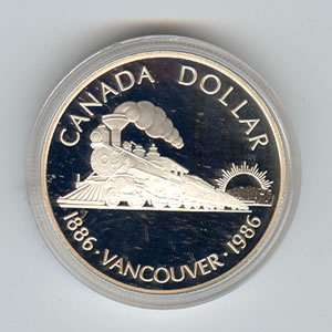 Canada 1986 Silver Dollar Vancouver Golden Eagle Coins