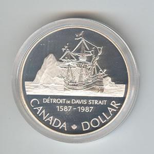 Canada 1987 Silver Dollar Davis Strait Golden Eagle Coins