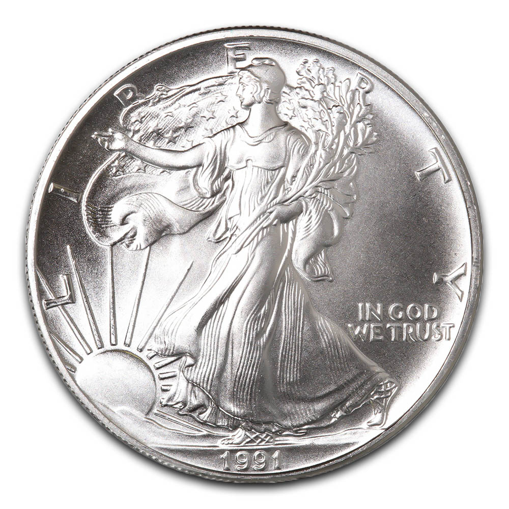 1991-1 oz American Silver Eagle .999 Fine Silver Dollar Uncirculated US Mint