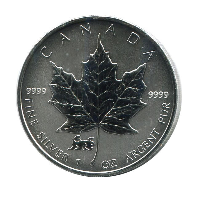 1998 Canada 1 Oz Silver Maple Leaf Reverse Proof Tiger