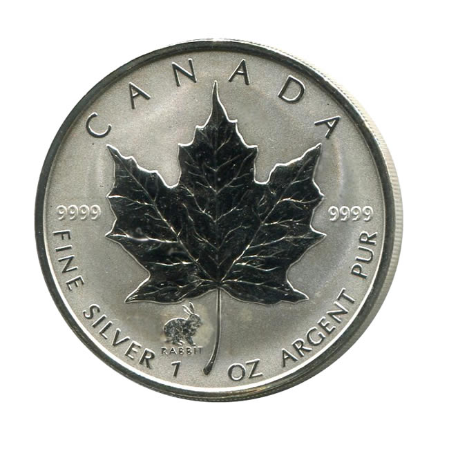 1999 Canada 1 Oz Silver Maple Leaf Reverse Proof Rabbit