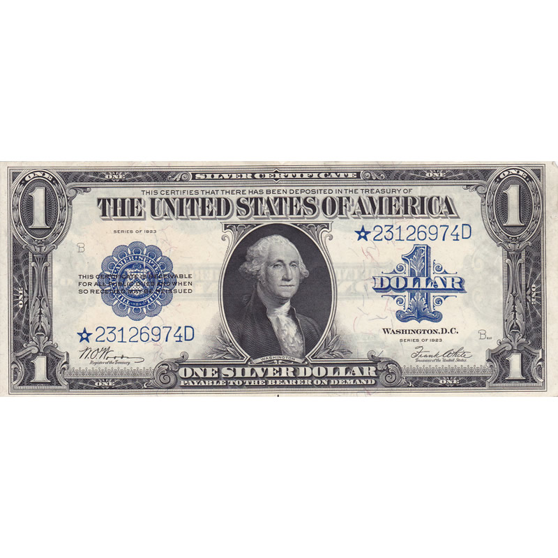 1923 $1 Star Silver Certificate XF razor cuts through seal and blue ...