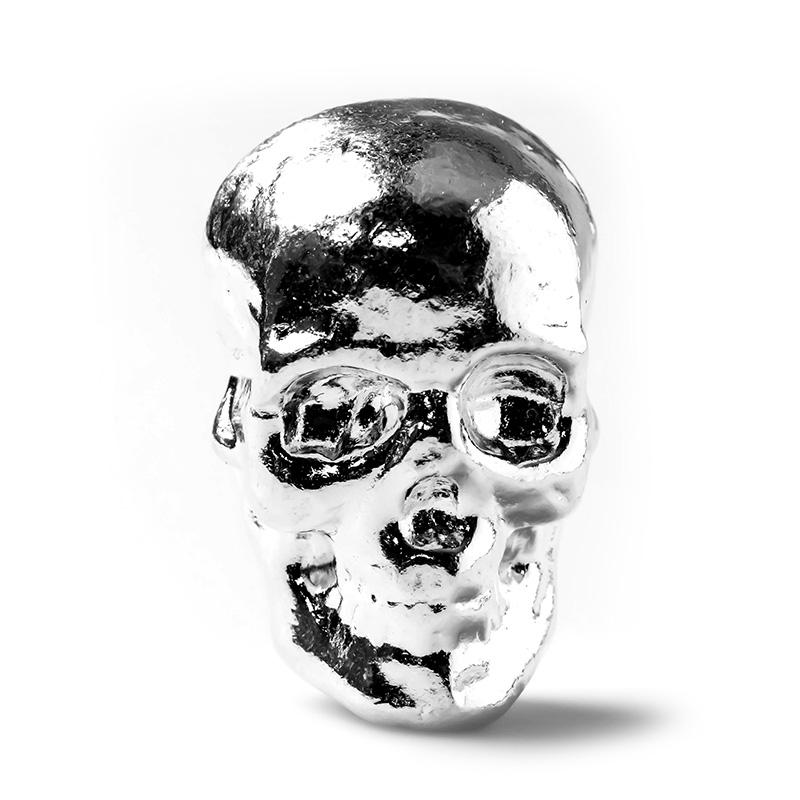 2 Oz Atlantis Mint Hand Poured 999 Silver Skull Golden