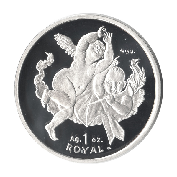 Gibraltar Silver Cherub Angel 1 Oz 2001 Golden Eagle Coins