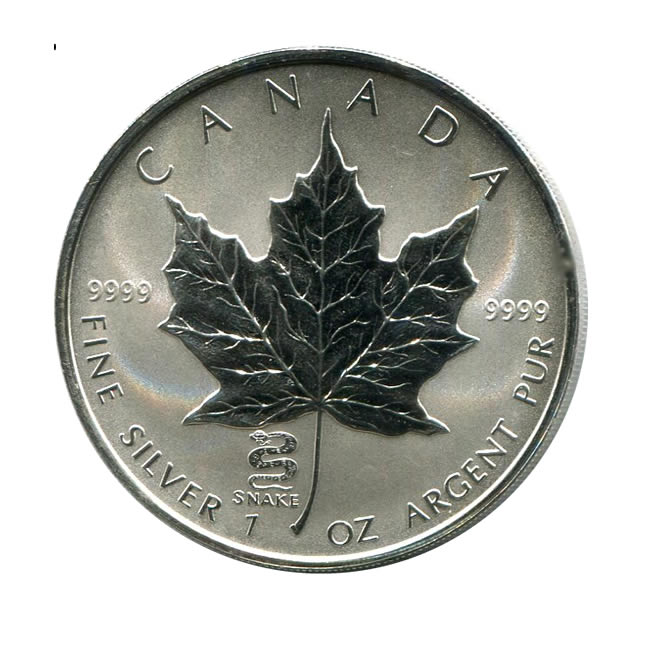 2001 Canada 1 Oz Silver Maple Leaf Reverse Proof Snake