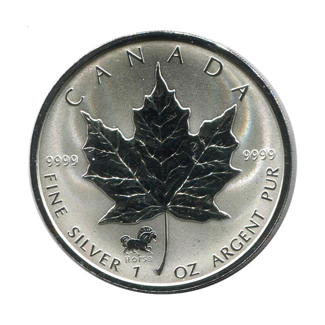 2002 Canada 1 Oz Silver Maple Leaf Reverse Proof Horse