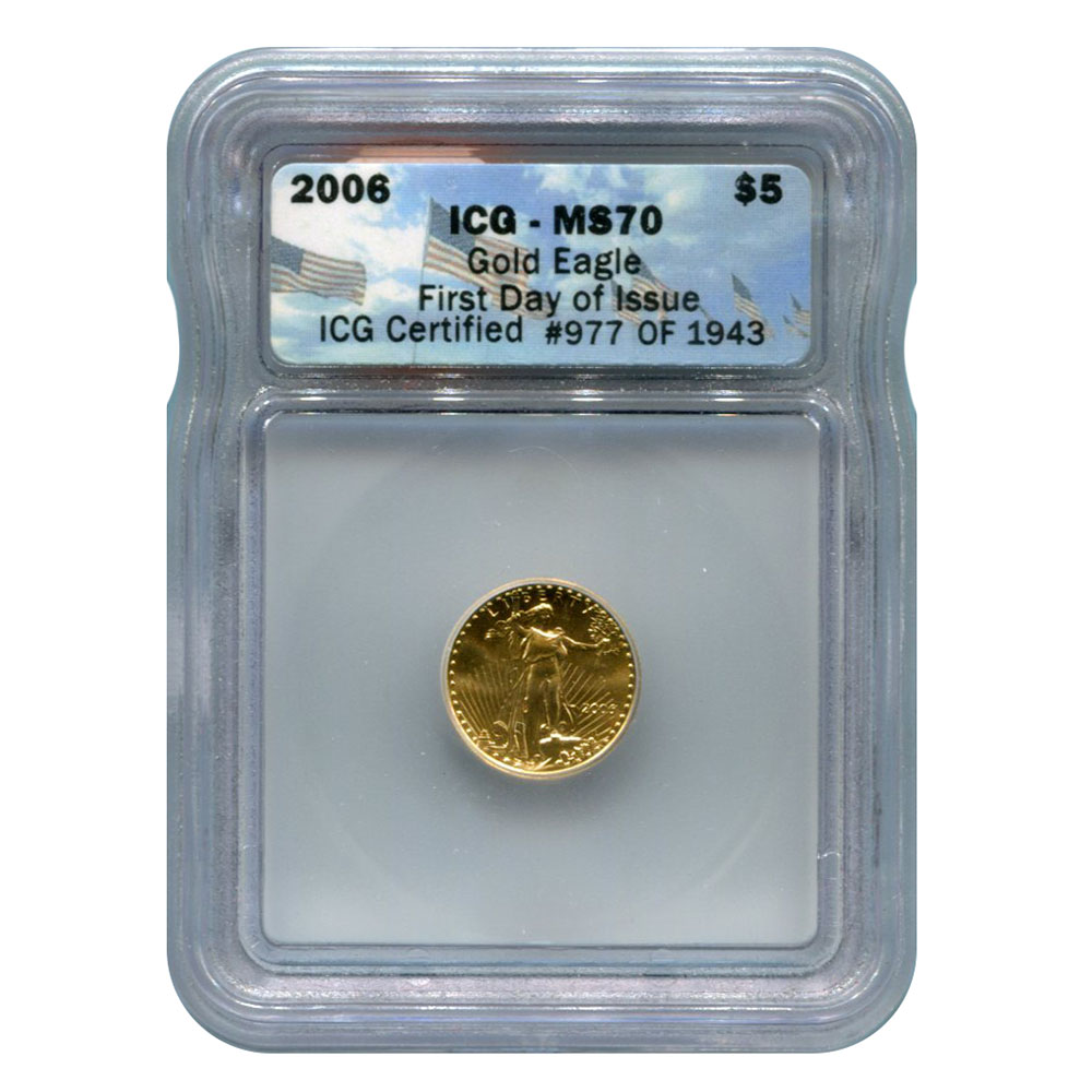 Certified American 5 Gold Eagle 2006 Ms70 Icg First Day