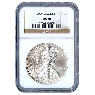 Certified Uncirculated Silver Eagle 2009 MS70
