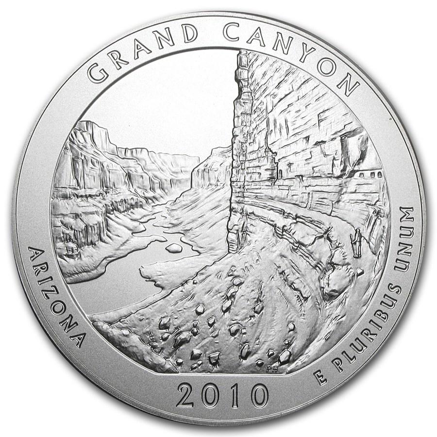 2010 P 5 Oz Silver Atb Grand Canyon W Box And Coa