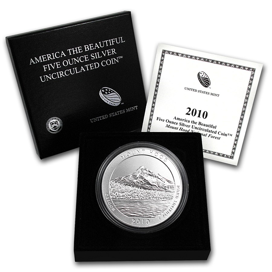2010 P 5 Oz Silver Atb Mt Hood W Box And Coa Golden