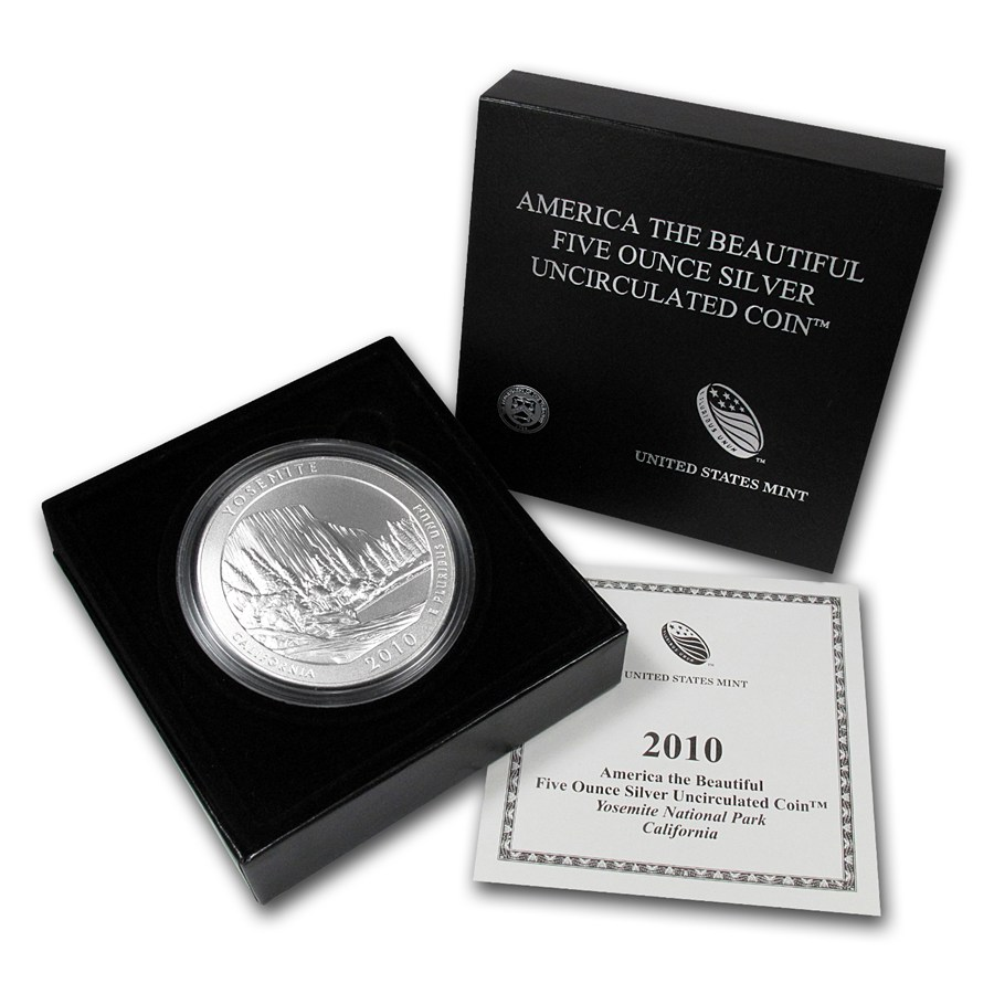 2010 P 5 Oz Silver Atb Yosemite W Box And Coa Golden