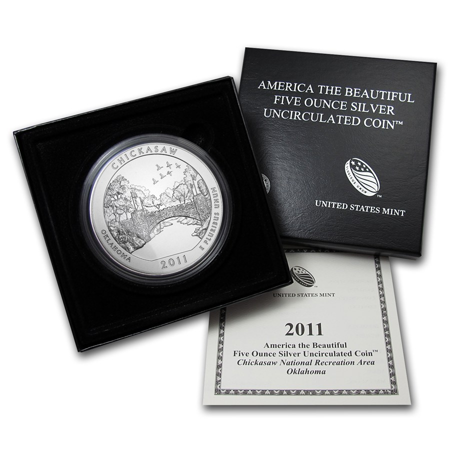 2011 P 5 Oz Silver Atb Chickasaw W Box And Coa Golden