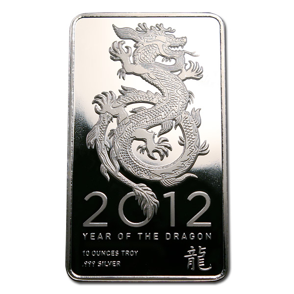 Ntr Metals Silver Bar 10 Oz 2012 Dragon Design Golden