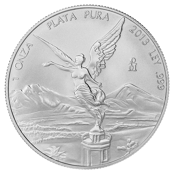 2013 1 Oz Mexican Silver Libertad Golden Eagle Coins