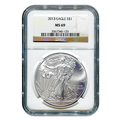 Certified Uncirculated Silver Eagle 2013 Ms69 Ngc Golden