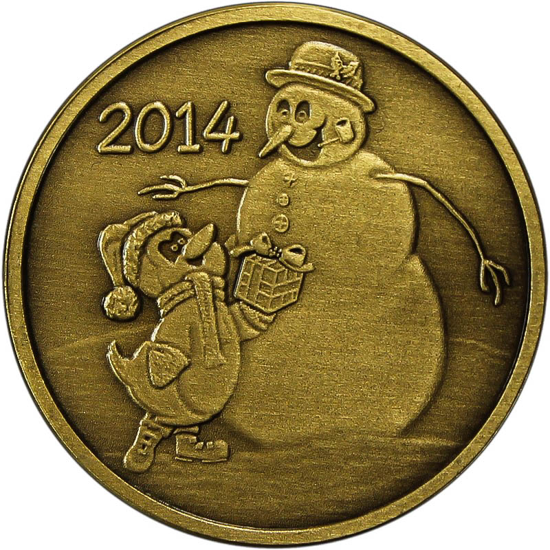Christmas 2014 Bronze Coin Bx 6 Snowman With Penguin Gift
