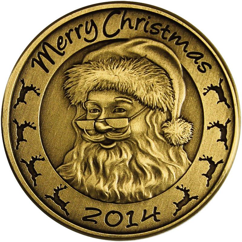Christmas 2014 Bronze Coin Bx 9 Santa With Reindeer