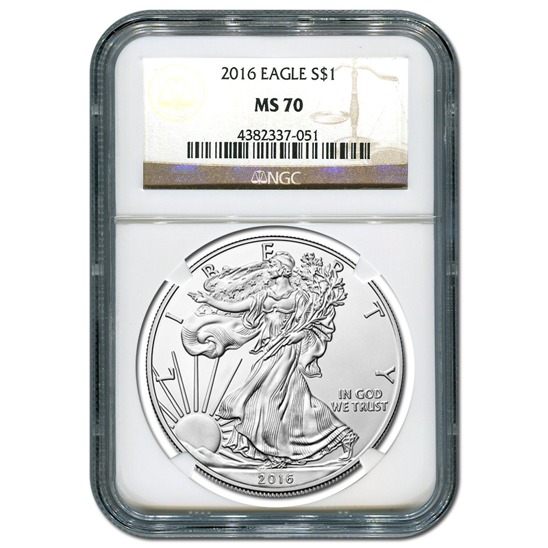 Certified Uncirculated Silver Eagle 2016 MS70 NGC | Golden ...