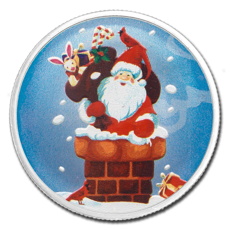 colorized christmas 2017 silver round santa down the chimney
