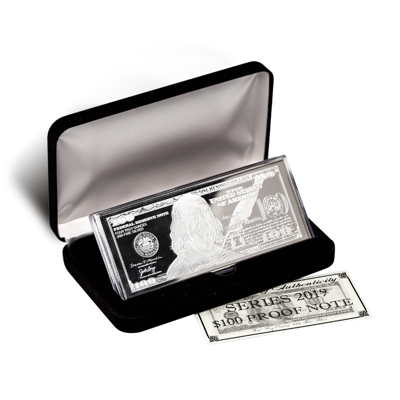 Silver 4 Ounce Bar 2019 100 Bill 999 Fine W Box And
