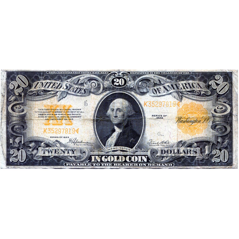1922 20 gold certificate fine golden eagle coins 1922 20 gold certificate fine xflitez Choice Image