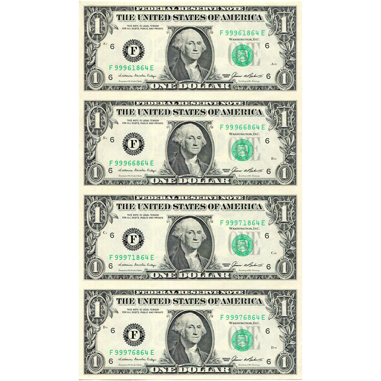 Uncut Currency Sheet 4 X 1 1985 Unc Golden Eagle Coins