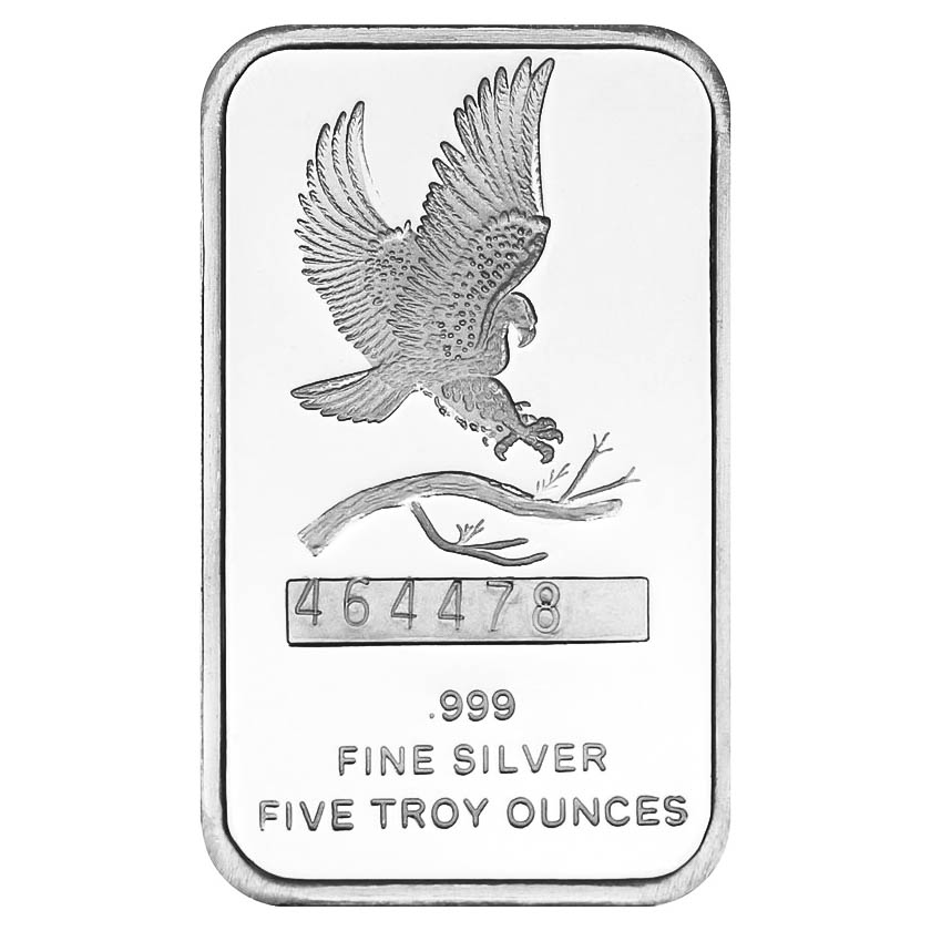 Silvertowne 5 Oz Silver Bar Eagle Design Golden Eagle