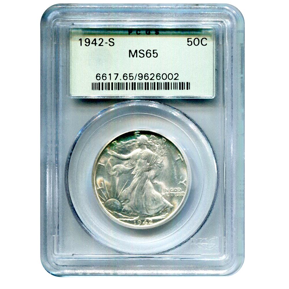1942 US Walking Liberty Silver Half Dollar 50C PCGS MS65