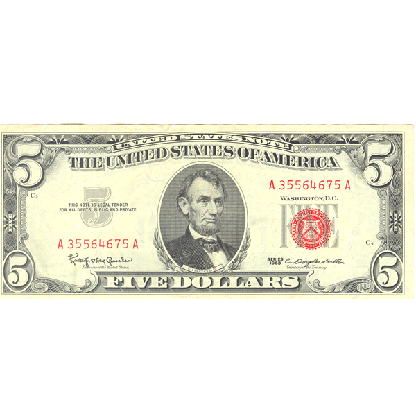 $5.00 Legal Tender//Red Seal Note US FINE or better 1963