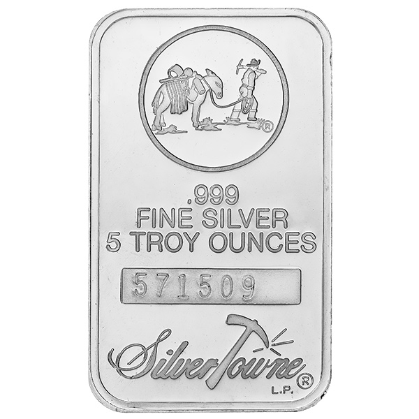 Silvertowne 5 Oz Silver Bar Prospector Design Golden