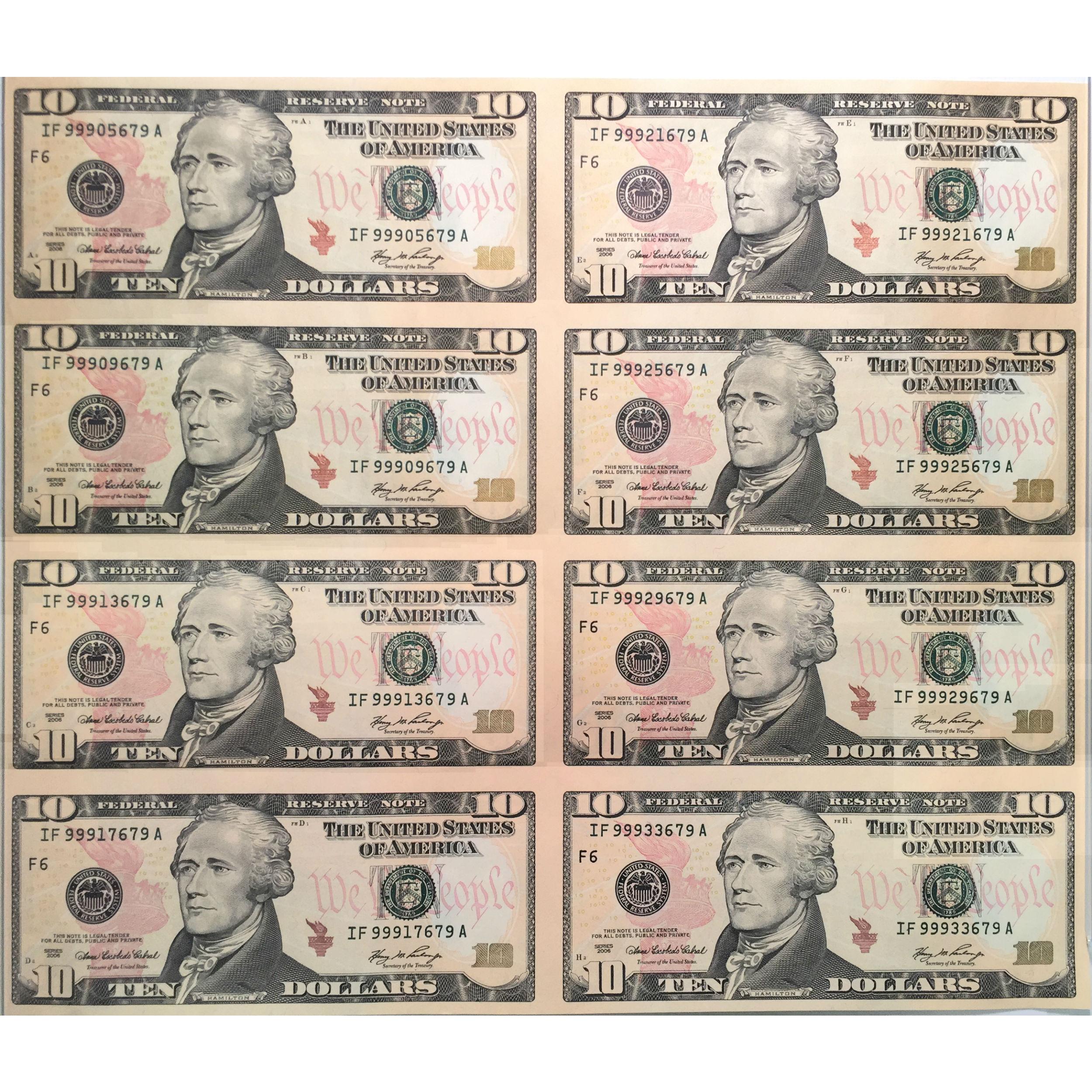 Uncut Currency Sheet 8 X 10 2006 Unc Golden Eagle Coins
