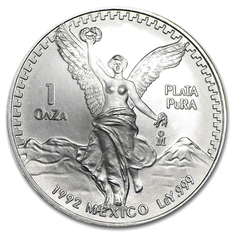 1992 1 Oz Mexican Silver Libertad Golden Eagle Coins