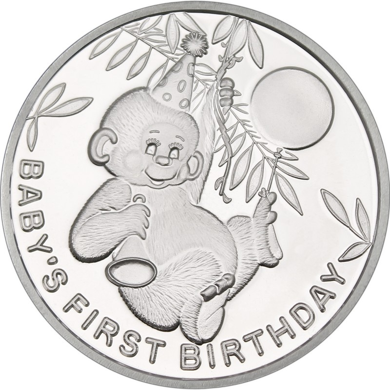 Babys First Birthday 999 Silver 1 Oz Round Golden Eagle