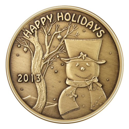 Christmas Bronze 2013 Happy Holidays Snowman With Top Hat