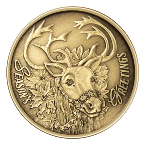 Christmas Bronze 2013 Seasons Greetings Reindeer 1oz X 5 Golden Eagle Coins