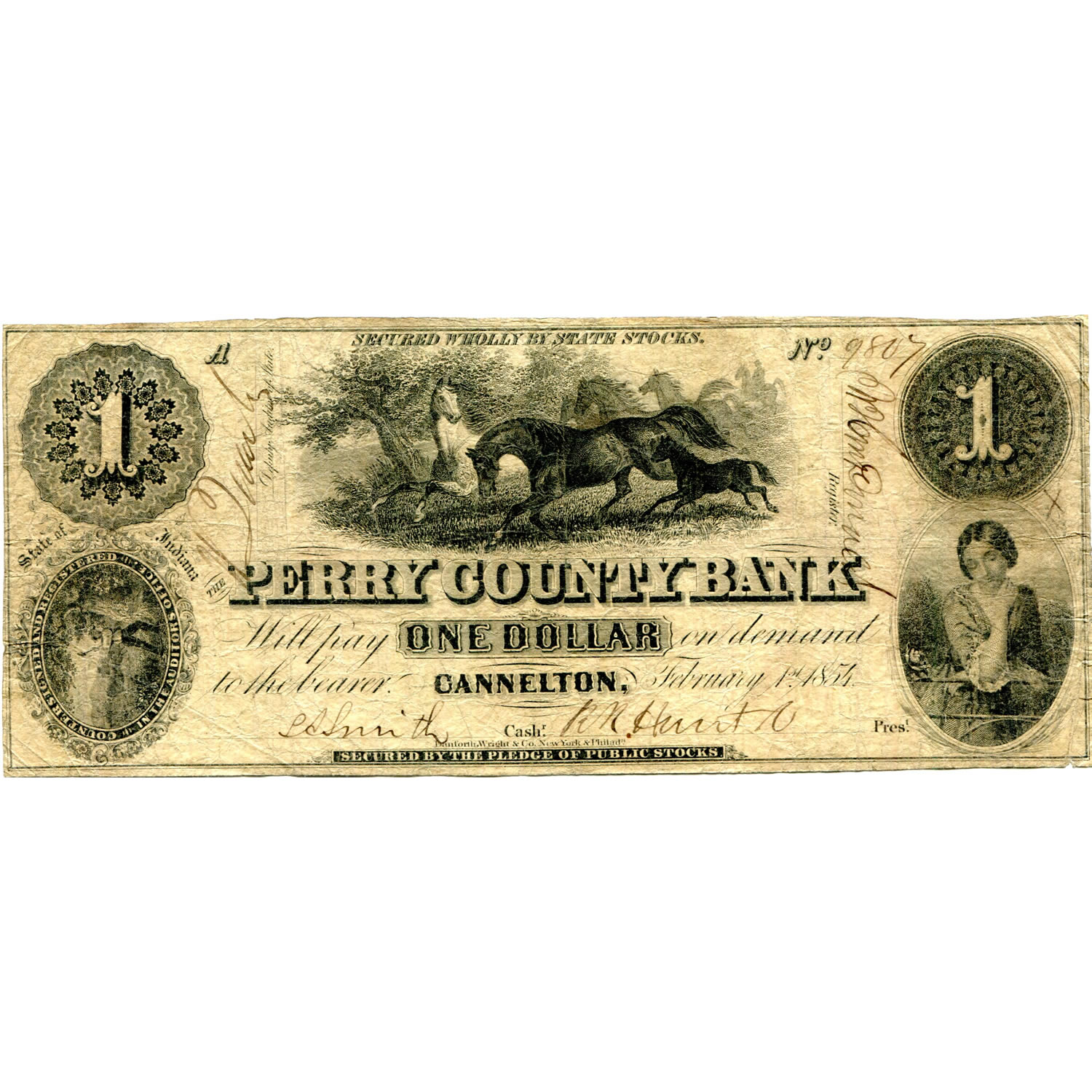 Indiana perry county cannelton - Indiana Cannelton 1854 1 Perry County Bank W100 1 Fine