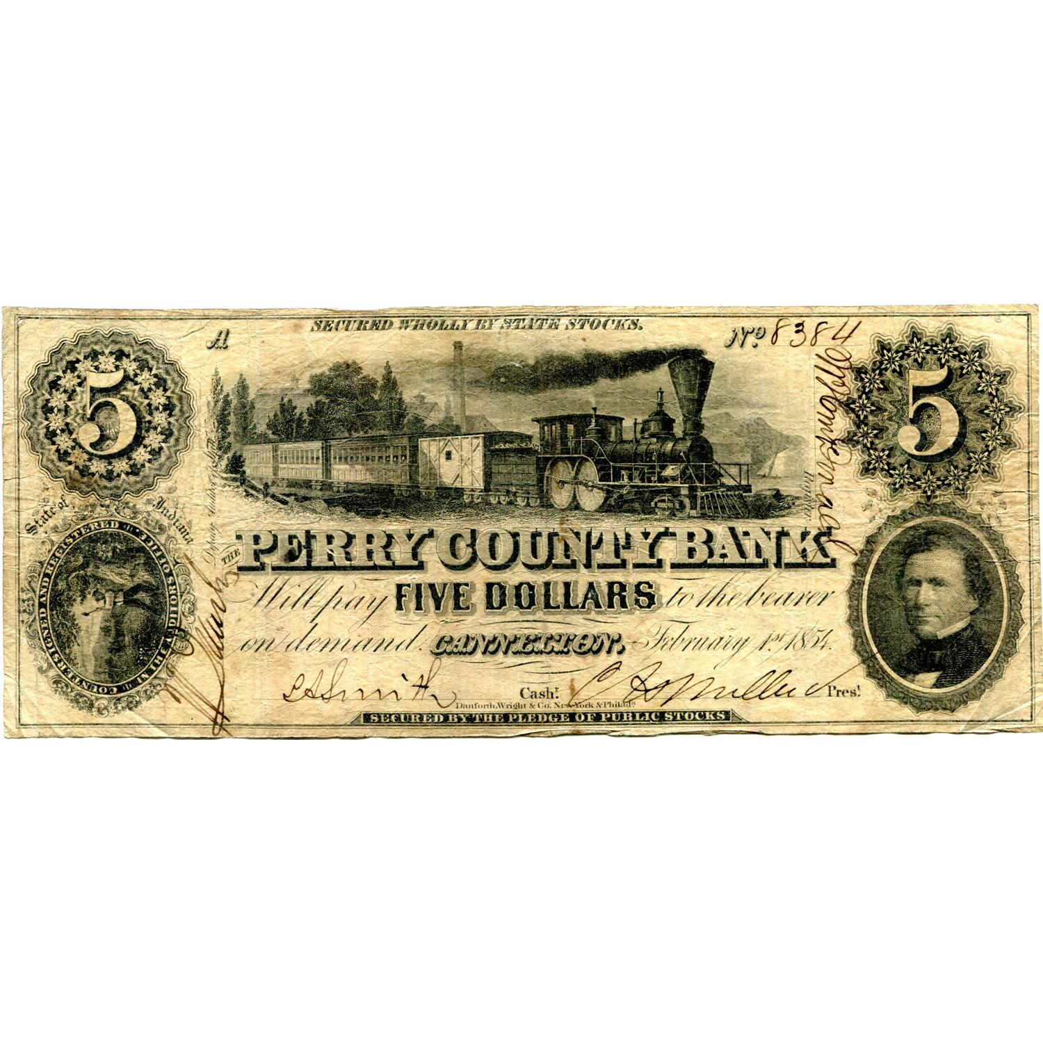 Indiana perry county cannelton - Indiana Cannelton 1854 5 Perry County Bank In 100 G4 Fine