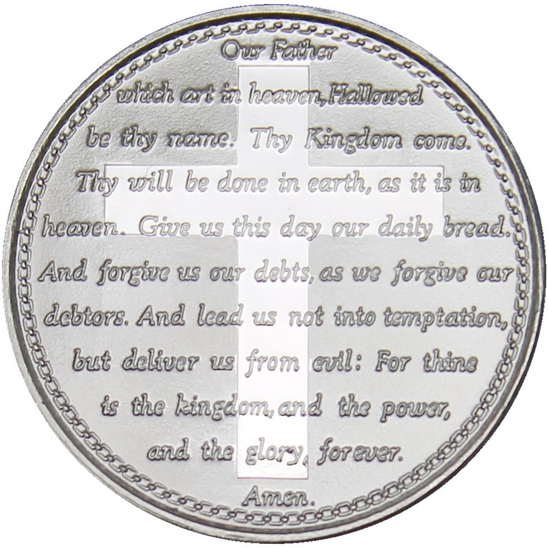 Lords Prayer 999 Silver 1 Oz Round Golden Eagle Coins